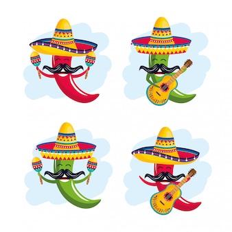 Set de chiles con sombrero con maracas y guitarra.