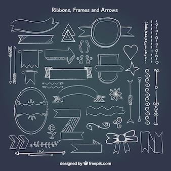 Set de cintas, marcos y flechas en estilo pizarra