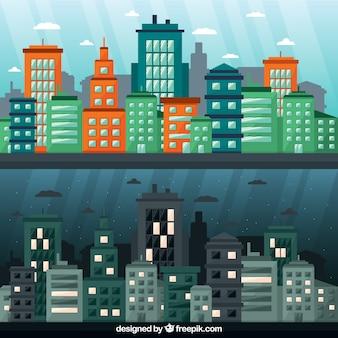 Set de ciudad diurna y nocturna
