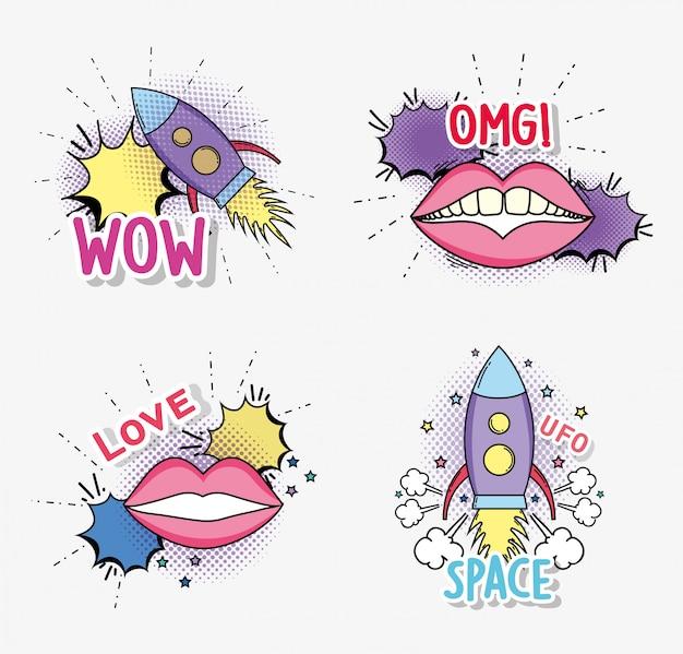Set cohete con boca de moda y parche de burbuja de chat