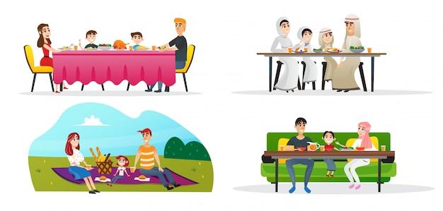 Set colección almuerzo familiar en diferentes culturas.