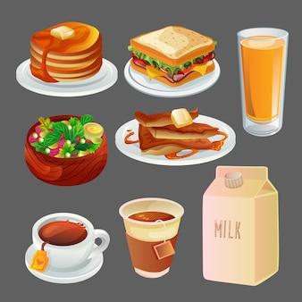 Set de colección de desayuno coloreado