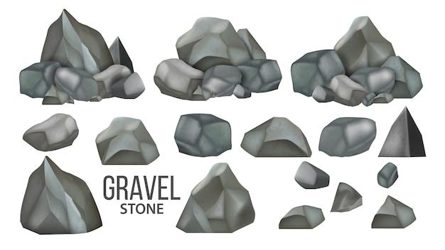 Set de colección de grava y granito de piedra