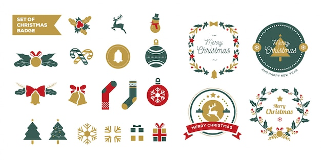 Set de colección de insignias navideñas