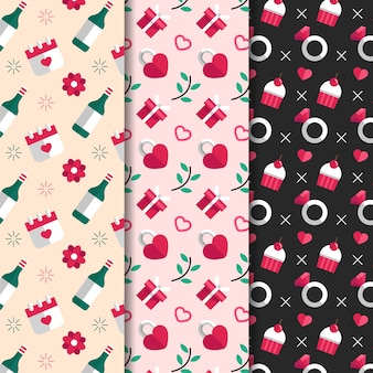 Set de colección de patrones de diseño de san valentín de diseño plano