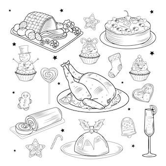 Set de comida y bebida tradicional de navidad