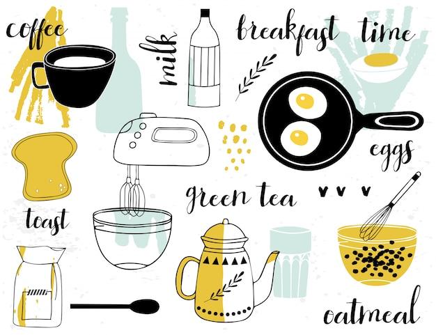 Set con comida de desayuno.