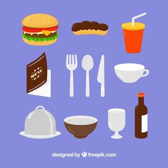 Set de comida y elementos de restaurante