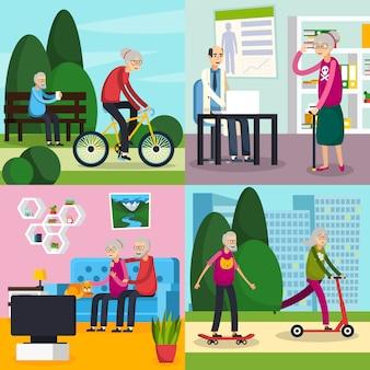 Set de composición ortogonal ancianos mayores