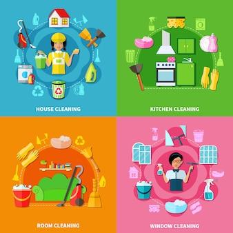 Set de composiciones de limpieza de cuadrados