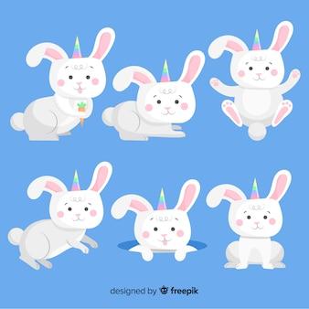 Set de conejos en estilo kawaii con apariencia de unicornio