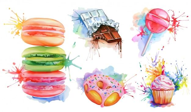 Set de confitería de acuarela, colección con paleta de caramelo, macarrones, cupcake de cumpleaños, barra de chocolate, donut con glaseado rosa. deliciosa comida para los golosos
