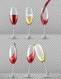 Set de copas de vino con chorrito de vino tinto y blanco, brindis de celebración.