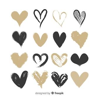 Set corazones dibujados a mano