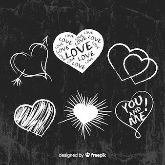 Set corazones pizarra