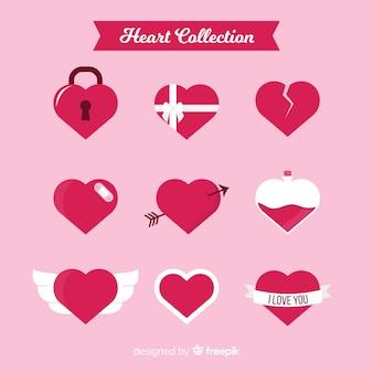 Set corazones planos
