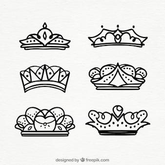 Set de coronas dibujadas a mano