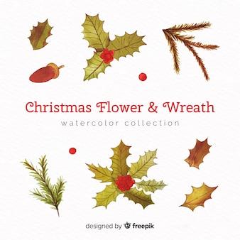 Set de coronas y flores de navidad en acuarela