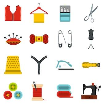 Set de coser iconos planos