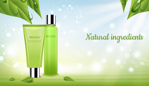 Set de cosmética con hojas verdes y flores de diente de león.
