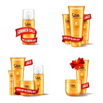 Set cosmético con cinta roja y lazo, rebajas de verano. plantilla de ilustración para web, revista o adv