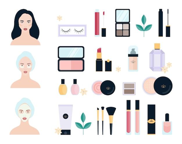 Set de cosméticos. colección de pincel de maquillaje y lápiz labial.