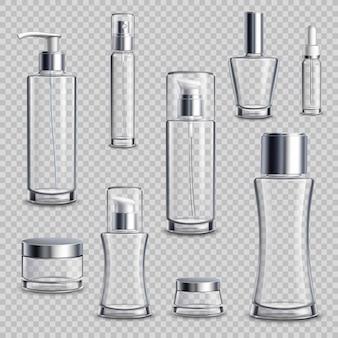 Set de cosméticos realista conjunto transparente