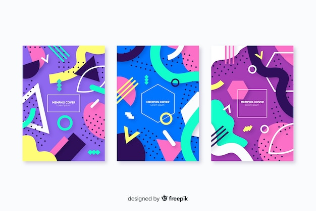 Set de covers abstractas de estilo memphis
