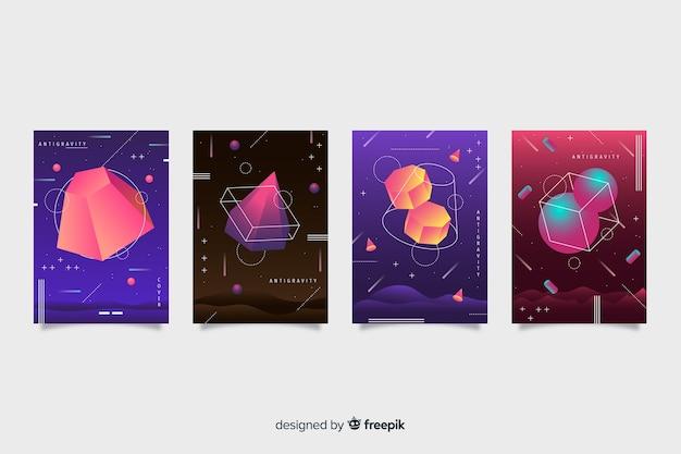 Set de covers  de antigravedad con formas geométricas