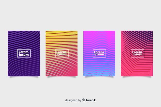 Set de covers coloridas con líneas geométricas