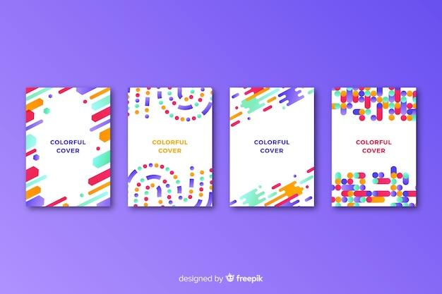 Set de covers coloridos de líneas geométricas