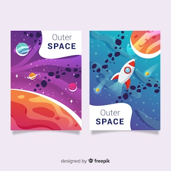 Set de covers del espacio exterior con degradado
