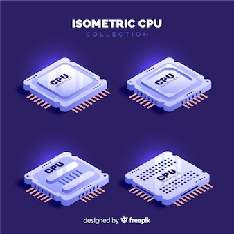 Set de cpus isométricos