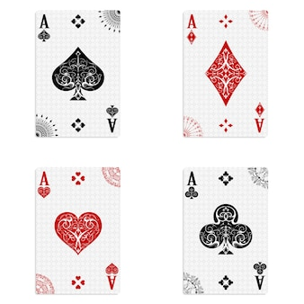 Set de cuatro ases baraja de cartas.