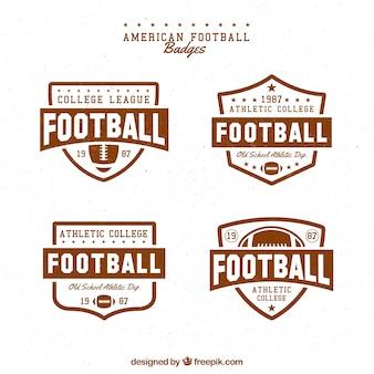 Set de cuatro insignias de fútbol americano en estilo retro