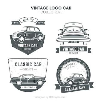 Set de cuatro logos de coche en estilo retro