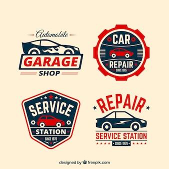 Set de cuatro logos de coches con detalles rojos