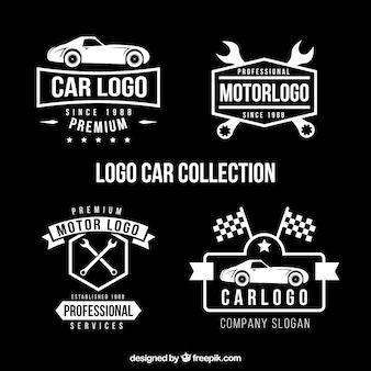 Set de cuatro logos de coches en diseño plano