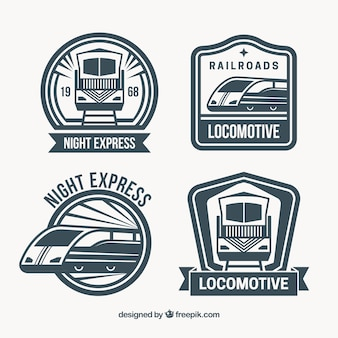 Set de cuatro logos de trenes