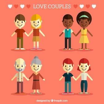 Set de cuatro parejas felices en estilo plano