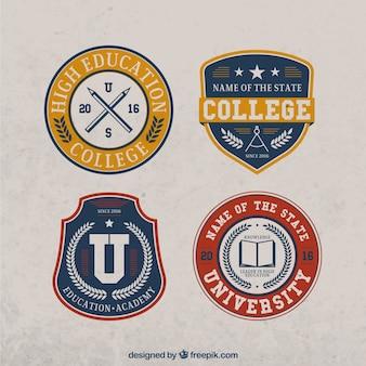 Set de cuatro pegatinas vintage de universidad