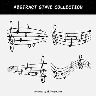 Set de cuatro pentagramas con notas musicales