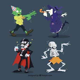 Set de cuatro personajes simpáticos de halloween
