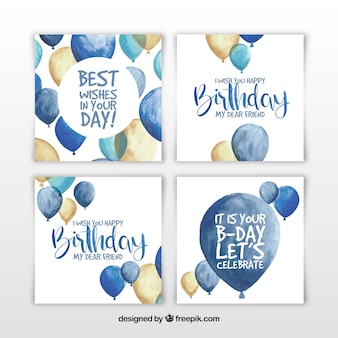 Set de cuatro tarjetas de cumpleaños en acuarela con globos