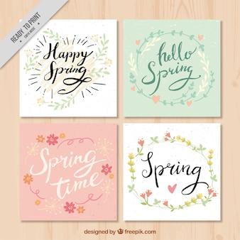 Set de cuatro tarjetas vintage con detalles florales de acuarela
