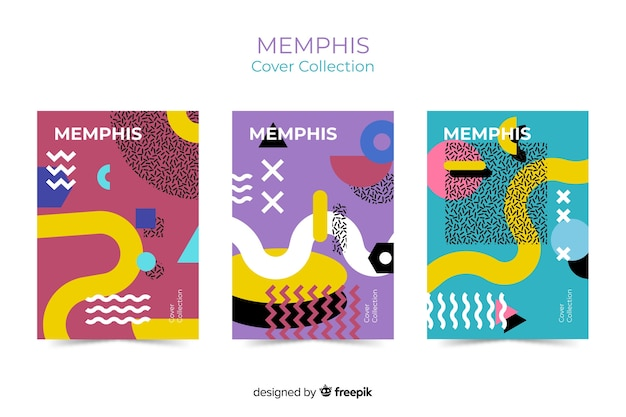 Set de cubiertas de estilo memphis