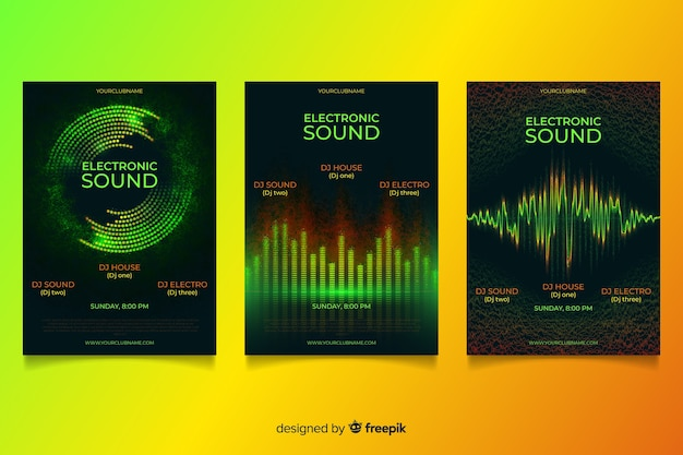 Set de cubiertas de ondas de sonido