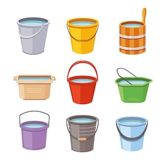 Set de cubos de agua. cubo de metal, iconos aislados de cubo de jardín de plástico vacío y lleno