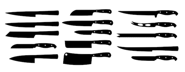 Set cuchillos aislados en blanco cuchillos de cocina siluetas negras cuchillo de cocina afilado set acero inoxidable