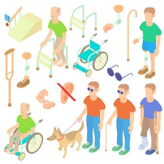 Set de cuidado isométrico de personas con discapacidad.
